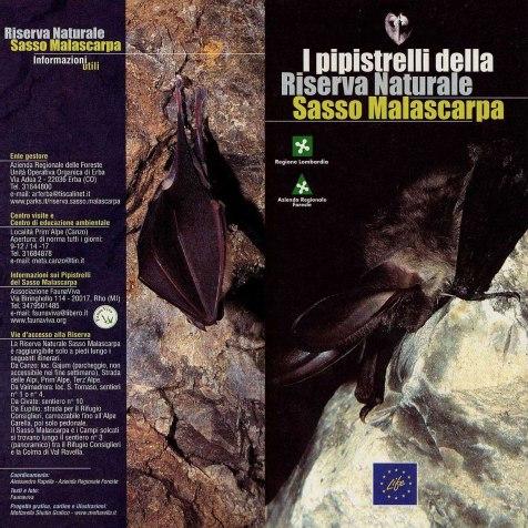 Volantino illustrativo sui Chirotteri della Riserva Naturale Sasso Malascarpa - progetto LIFE RISMA (2002)
