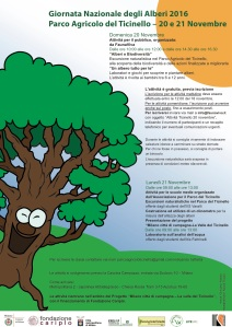 Programma delle attività per la Giornata Nazionale degli Alberi 2016 al Parco del Ticinello